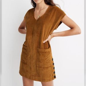 'MADEWELL corduroy side button shift dress gold
